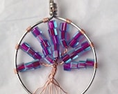 Blue/purple tree of life pendant