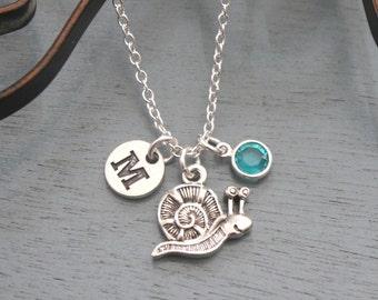 Snail Necklace, Personalized Snail Necklace, Silver Snail Necklace, Initial Necklace, Snail Gift, Cute Snail Necklace, Snail Jewelry, Custom