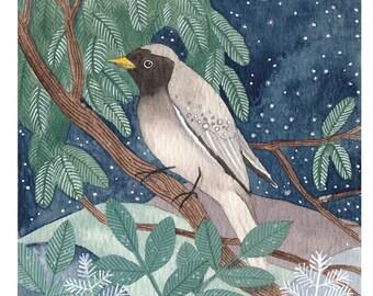 Bird in the moonlight - Giclee print