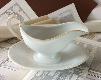 French vintage sauce boat gravy boat,antique gravy boat,Creil et Montereau. Shabby chic, country home, country cottage,ivory ironstone.Gift