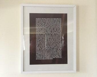 Pale Blue Dot - Framed Print/Vinyl Typographic Art