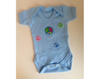 Short sleeve Baby Grow, Peace Sign, Baby Boy, New Baby, Baby Gift, Pink Bodysuit, Organic Cotton, Baby Shower