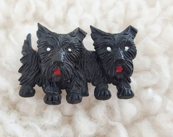 Vintage Scotty Dogs Pin | 1940's Jewellery | Scotty Dog Brooch | Early Plastic Jewelry | Scotty Dog |