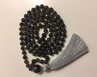 Smokey Quartz Mala with Tassel; Necklace; Prayer Beads; Healing;