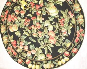 "Hand stitched needlepoint round rug 48"" diameter"