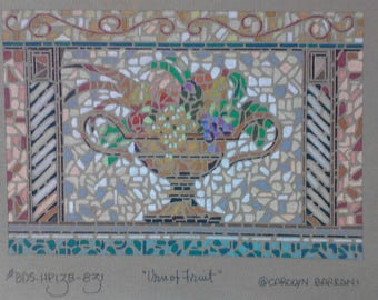 Handpainted Needlepoint Canvas with Urn of Fruit mosaic design