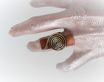 Mixed metal ring Unique ring Copper ring Spiral ring Swirls ring Art ring Rustic ring Statement ring Unusual ring Funky ring Tribal ring
