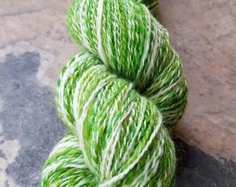 Handspun Yarn, DK Weight, BFL / Faux Cashmere / Silk / Mohair Blend ' Snowdrops' - 385 yards