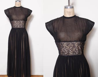 Vintage 50s illusion lace dress / black sheer gown / pleated maxi dress / pin up dress