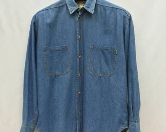 Vintage 90s Esprit Chambray Denim Long Sleeve M Medium