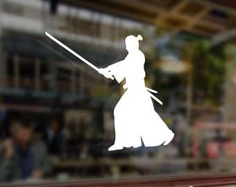Samurai with a katana Art Vinyl Stickers Funny Decals Bumper Car Auto Computer Laptop Wall Window Glass Skateboard Snowboard Room