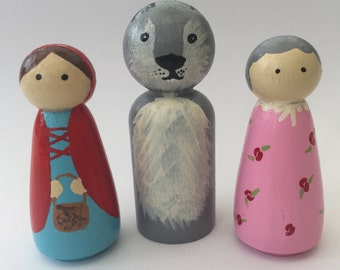 Little Red Ridinghood story set - Hand Painted wood peg dolls    EYFS/ Gift /Education / Smallworld