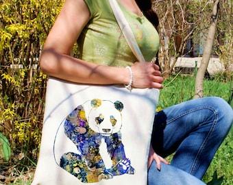 Adorable panda tote bag -  Animal shoulder bag - Fashion canvas bag - Colorful printed market bag - Gift Idea