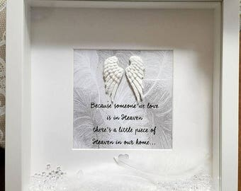 Memory Frame, Memory Picture Box, Memorial Frame, Because someone we love is in Heaven, Angel wings, Feathers
