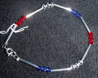 Red, White, Blue, and Silver Bracelet