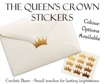 Queen's Crown Stickers - Royal Party - Removable Vinyl - Party Invitations - Envelope Sealing Stickers - Planner Stickers #44