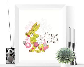 Happy Easter Bunny Printable Decoration  | Easter Decor | Easter Decorations | Easter Prints | Easter Printables