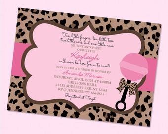 Cute Leopard Baby Shower Invitation