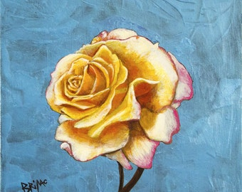 Rose on Electric Blue 2016 Acrylic Painting by Brian McCann