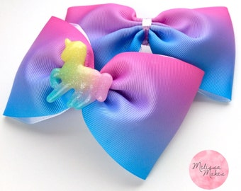 Ribbon Tux Bow Pink and Blue Ombre with Unicorn or Butterfly Embellishment Hair Clip