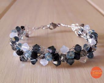 Blue Crochet Wire Bracelet Blue Swarovski Crystal Bracelet Copper Wire Bracelet