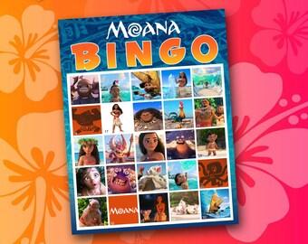 Moana Bingo Game, Birthday Party Game, moana games, moana invitation