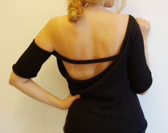 Asymmetric top Off shoulder top Open back top Unique design top Summer knitted top Black top