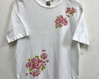45rpm tee shirt Rare Vintage 45rpm Japan t Shirt Japan Fasion Designer Avante Garde sz 3 Flowers shirt