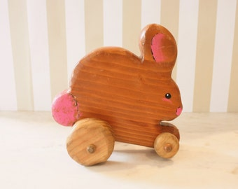 Vintage Wooden Bunny Rabbit Roll Toy