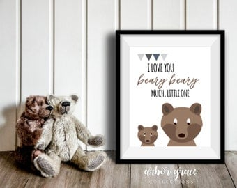 I Love You Beary Much, 11x14 Digital Download Prints, Wall Art, Boy Nursery, Bear Nursery, Playroom, Arbor Grace Collections