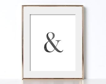 Black and White Ampersand Poster Digital Download Ampersand Prints Black and White Poster Classy Poster Classy Prints Typography Printable