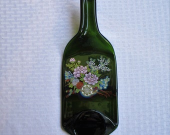 Wheelbarrow Full of Flowers, melted bottle, slumped bottle, melted glass, cheeseboard, spoon rest, bottle art, recycled glass, floral
