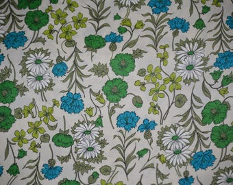 Vintage 50s / 60s retro fabric blue green and white floral cotton fabric by the yard