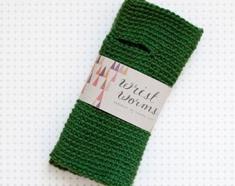 Original Wrist Worms, Wool, Forest Green