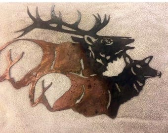 Bull Elk and Cow metal art