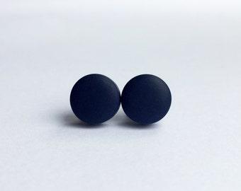 Navy Small Stud Earrings, Round Earrings, Navy Earrings, Minimalist Earring, Everyday Studs, Simple Studs, Polymer Clay Studs, Navy Studs