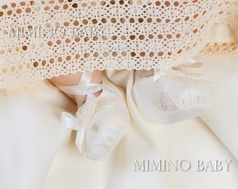 LACE christening booties, white silk booties, christening shoes, handmade christening booties, baptism lace booties, baby baptism shoes