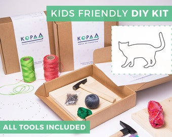 Kids friendly DIY CAT string art kit, kids craft kit, all tools included, cool gift for kids