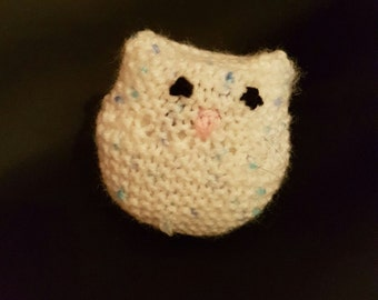 Stress relief, aromatherapy stress ball cat. Peppermint & eucalyptus, white and blue flecked cat.