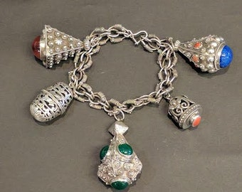 Sterling Silver Bracelet with Ornate Charms