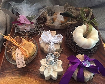 Handcrafted  2 oz. goat's milk soap event favors (including tulle/ribbon + name/date tag)