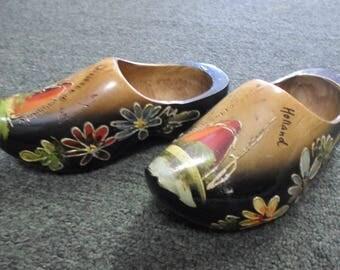 Vintage Amsterdam Holland Handcarved Wooden Shoes