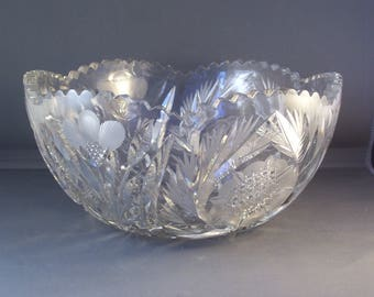 Antique American Brilliant Cut  Glass Bowl  Flower Period( 1906-16)