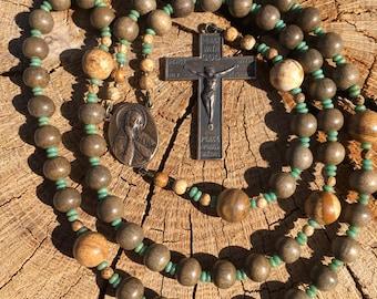 Catholic Rosary, Graywood, Semi-precious Stones, Turquoise, Bronze