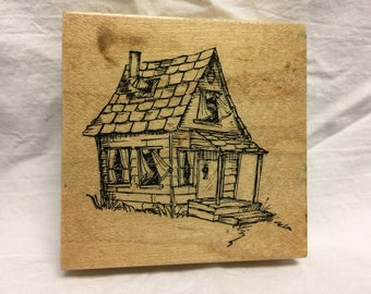 Old House Stamp by Art Impressions, Card Stamp, House Stamp, Card Stamp, Scrapbook Stamp, Rubber Stamp, Farm House Stamp