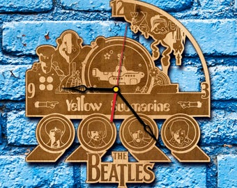 Beatles art wall clock, the beatles gift beatles record beatles album beatles birthday beatles custom john lennon decor yellow submarine