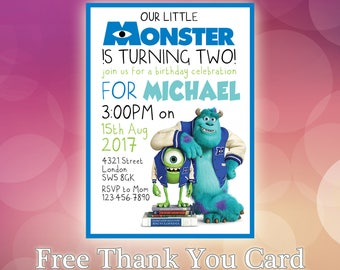Monsters University Invitation / Monsters Inc Invite / Monsters Inc Birthday / Modern Contemporary Birthday Invitation / MI01