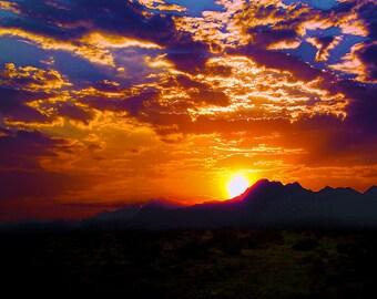 Ridgecrest Sunset near Ridgecrest California, west of Death Valley, USA,  - Canvas Gallery Wrap