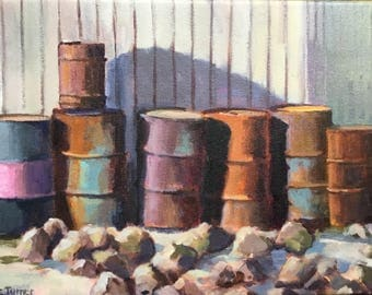 Barrels, Tucson, 12x16, oil on canvas