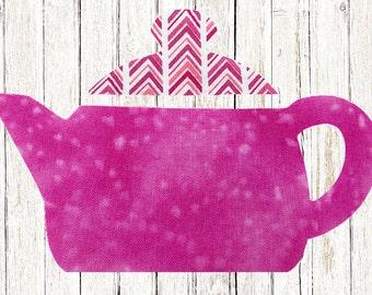 Tea Pot iron on applique DIY